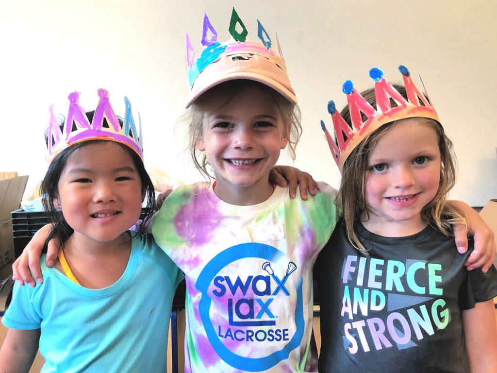 Girls made crowns during arts and crafts at Swax Lax Lacrosse summer camp