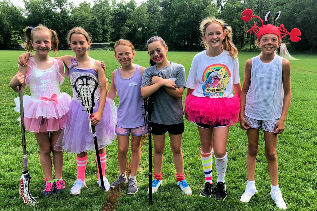 Girls dressed for wacky Wednesday talent show at Swax Lax Lacrosse summer camp