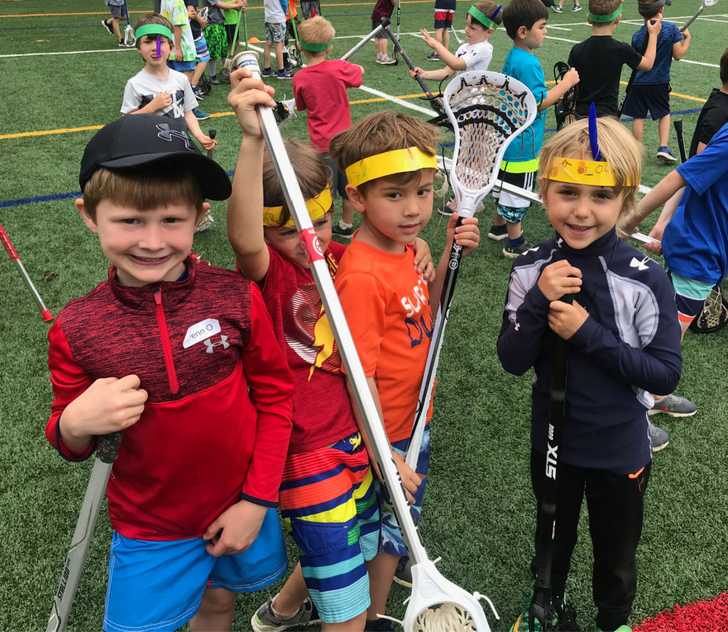 Boy lacrosse players on field with their lacrosse sticks